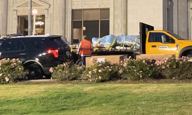 SERRA STATUE REMOVED | Controversial statue moved to temporary storage